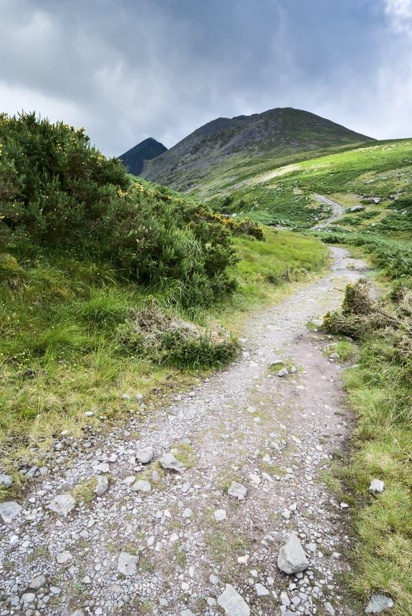 De weg van de berg in Ierland stock foto
