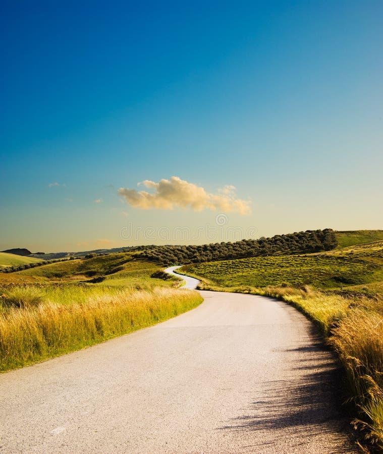 De weg van de heuvel stock afbeeldingen