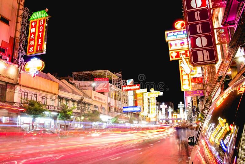 De weg van de stadsyaowarat van China, Bangkok Thailand royalty-vrije stock foto