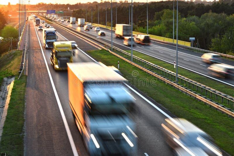 De weg van de vier steeg controleren-toegang in Polen stock afbeelding