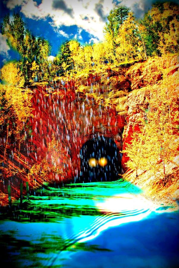 De Weg van de de Fantasieberg van de droomopeenvolging met Tunnel Heldere Kleuren en Regen stock foto