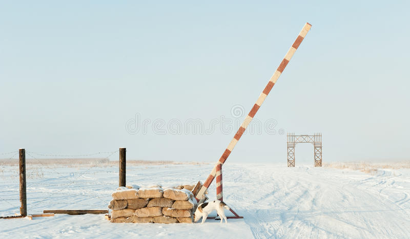 De weg van het leven op Meer Ladoga tijdens de blokkade van Leningrad tijdens de Tweede Wereldoorlog stock foto