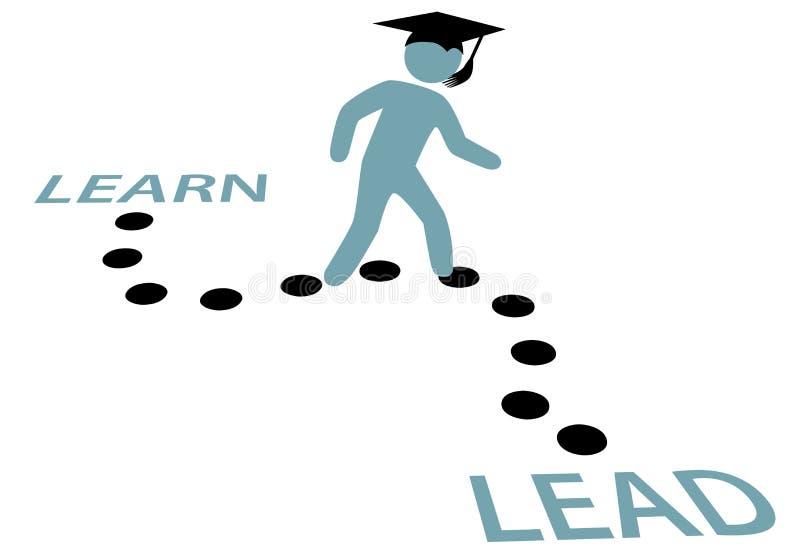 De Weg van het Onderwijs van de graduatie LEERT TE LEIDEN royalty-vrije illustratie