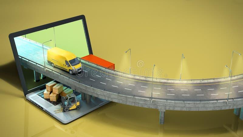 De weg van het vervoersconcept van laptop op de weg gaande vrachtwagen zijn er dozen en een lader op 3d laptop geeft op kleur ter stock illustratie