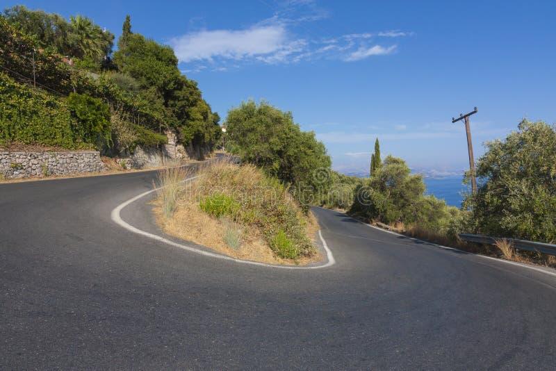 De weg van Korfu stock foto's