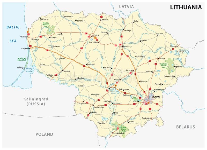 De weg van Litouwen en nationale parkkaart stock illustratie