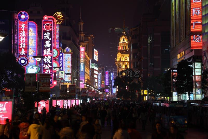 De Weg van Nanjing bij nacht, Shanghai royalty-vrije stock fotografie