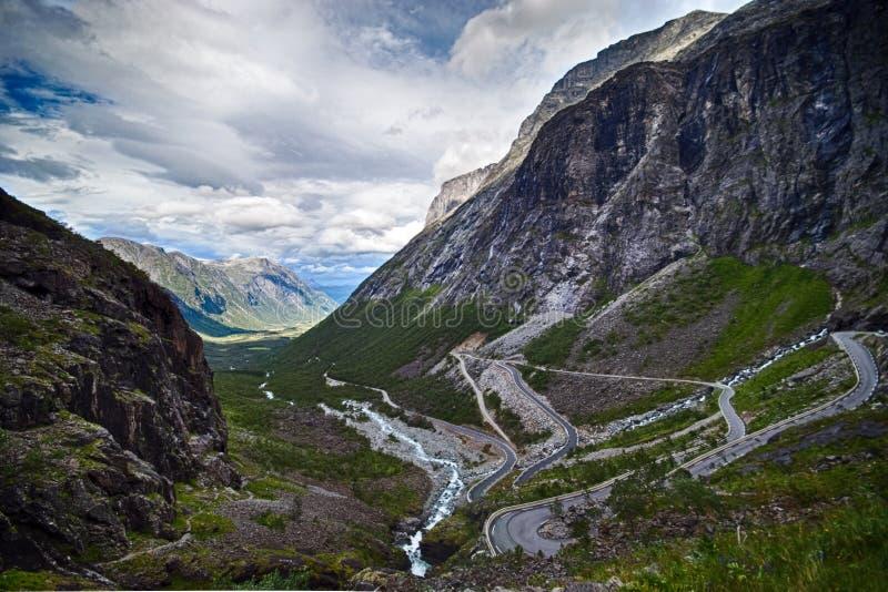 De weg van sleeplijnen, Noorwegen. stock afbeeldingen