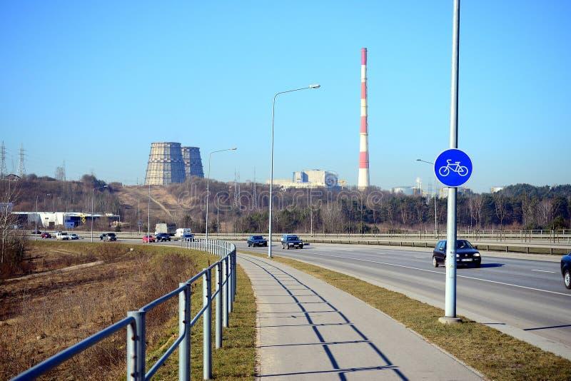 De weg van Vilnius aan Kaunas-stad is het meest gebruikt stock foto's