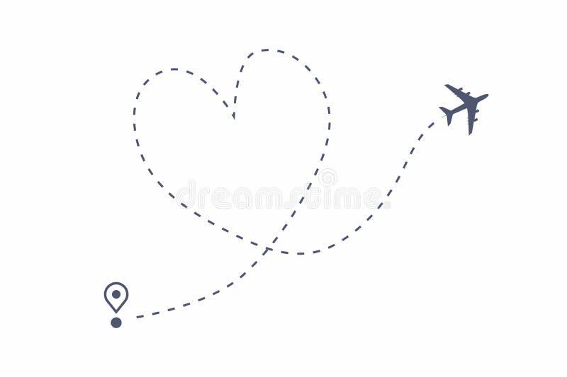 De weg van de vliegtuiglijn, de route van de Liefdereis De vluchtroute van het luchtvliegtuig met beginpunt en het spoor van de s stock illustratie