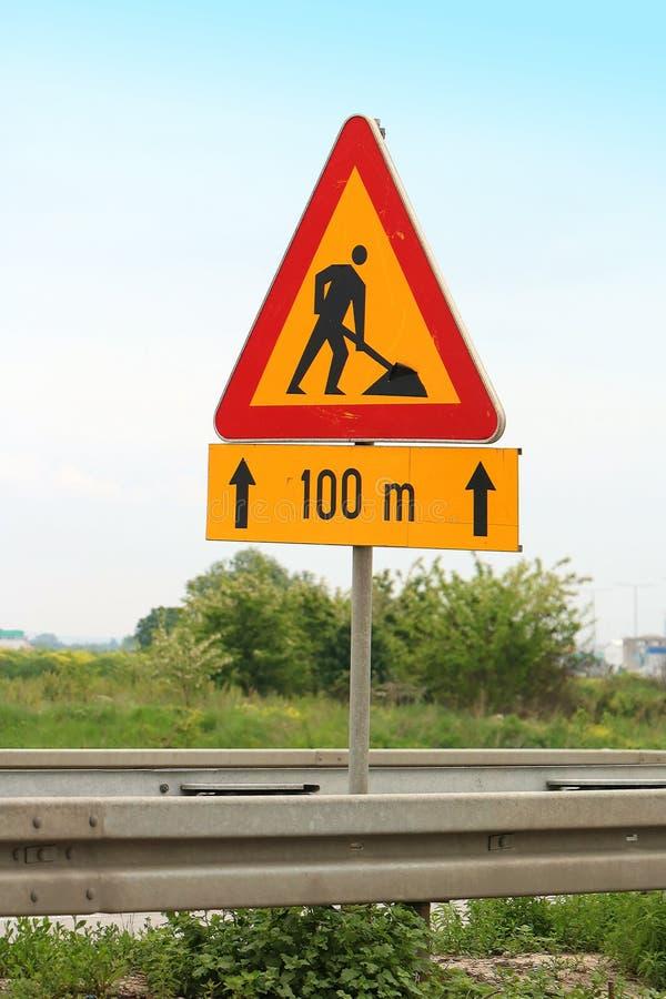 De weg werkt verkeersteken stock fotografie