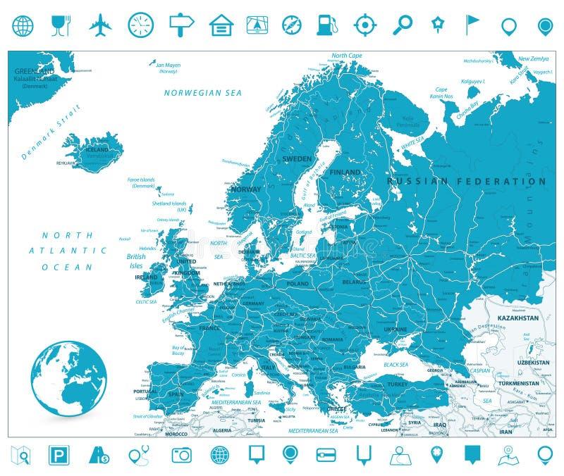 De Wegenkaart en de Navigatiepictogrammen van Europa stock illustratie
