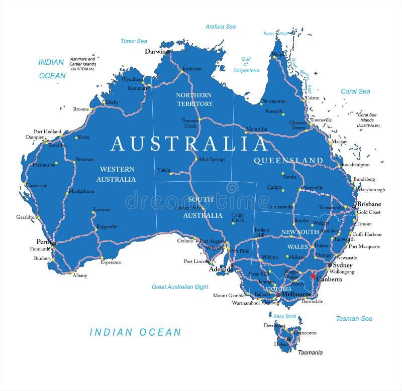 De wegenkaart van Australië stock illustratie