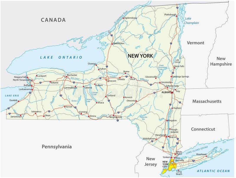 De Wegenkaart van de Staat van New York stock illustratie