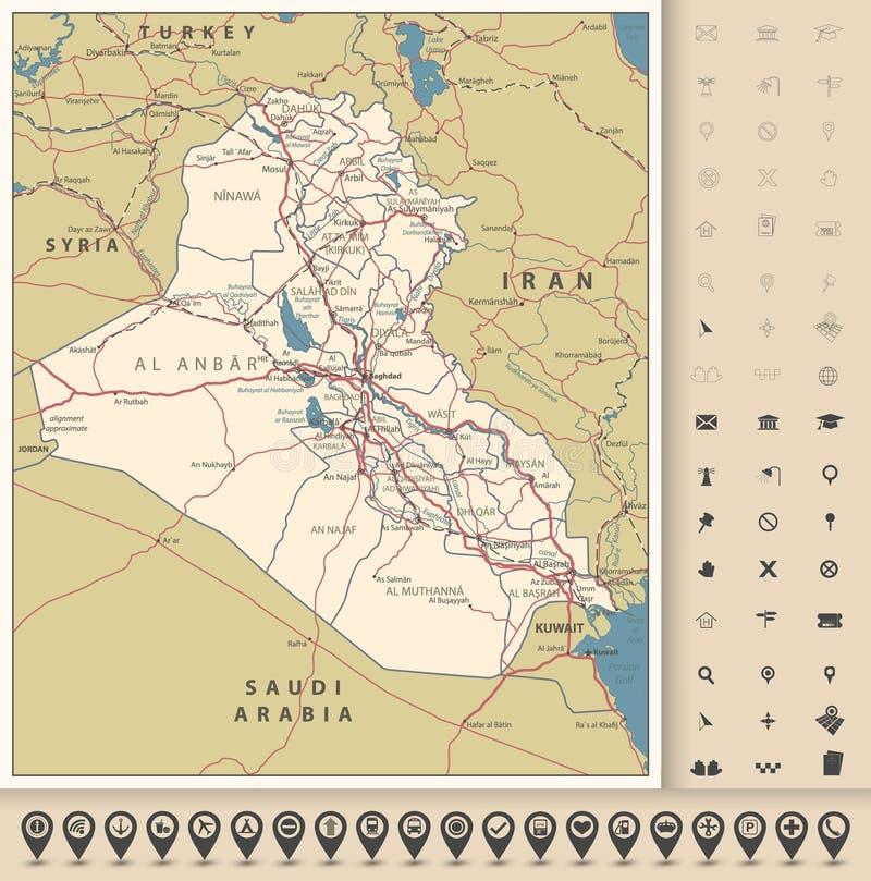 De Wegenkaart van Irak en kaartpictogrammen stock illustratie