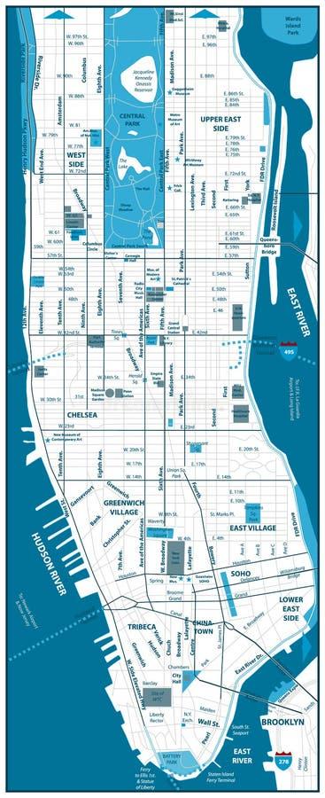 De wegenkaart van Manhattan royalty-vrije illustratie