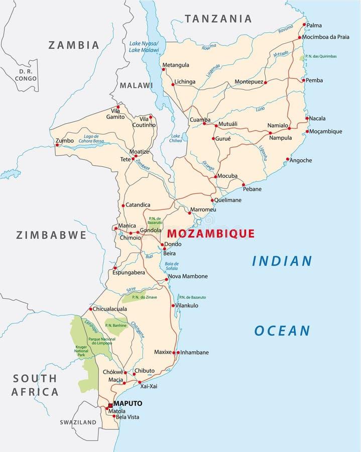 De wegenkaart van Mozambique royalty-vrije illustratie