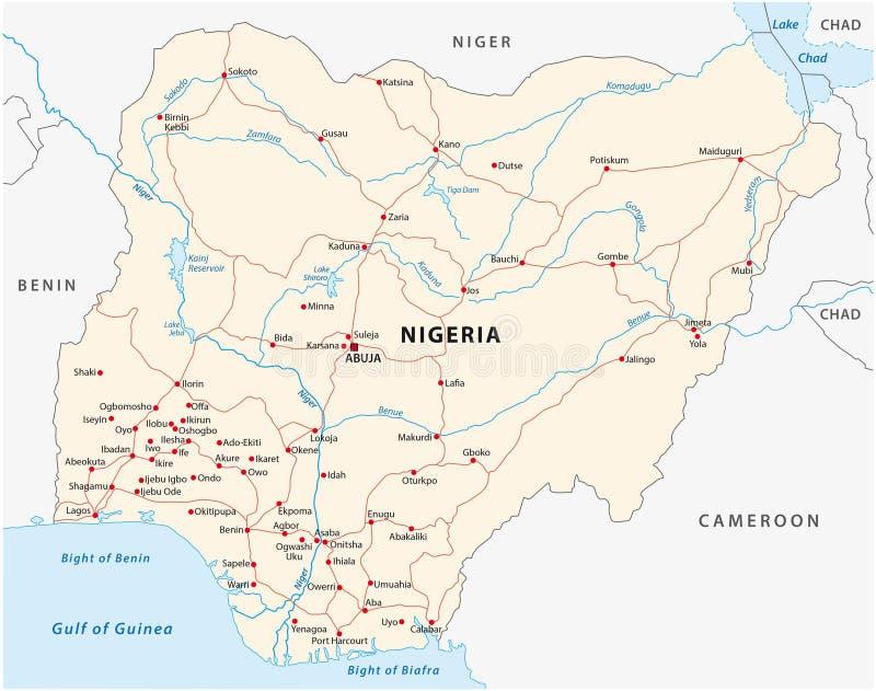 De wegenkaart van Nigeria royalty-vrije illustratie