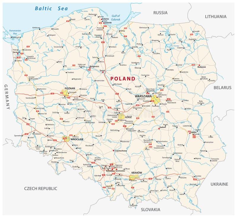 De wegenkaart van Polen vector illustratie