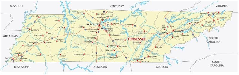 De wegenkaart van Tennessee vector illustratie