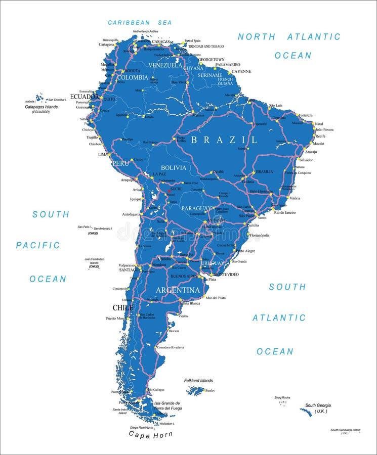 De wegenkaart van Zuid-Amerika stock illustratie
