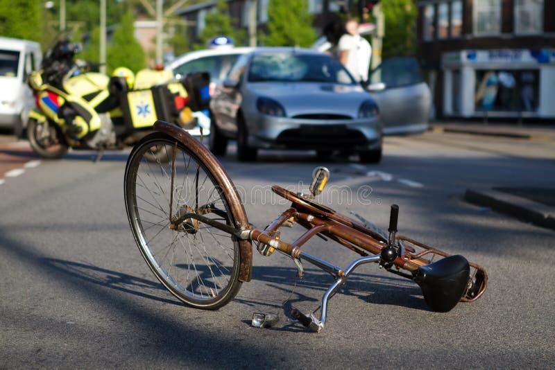 De wegongeval van de fiets stock foto