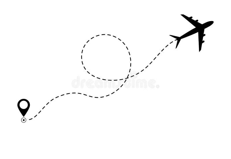 De wegpictogram van de vliegtuiglijn van de vluchtroute van het luchtvliegtuig Het concept van de vliegtuigreis, symbool op geïso stock illustratie