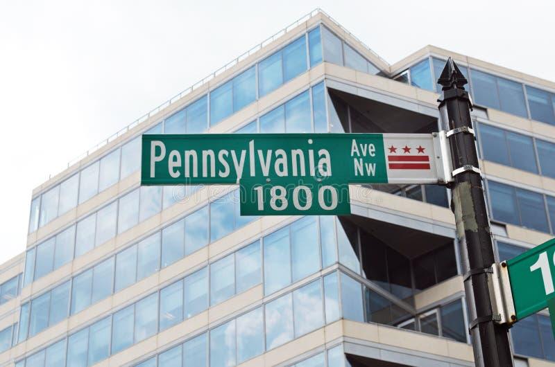 De Wegteken van Pennsylvania in Washington D C stock foto