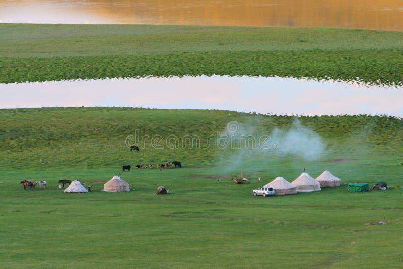 De Weide van Bayanbulak royalty-vrije stock afbeeldingen
