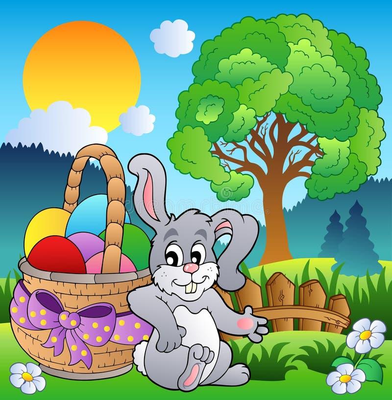 De weide van de lente met konijntje en mand royalty-vrije illustratie