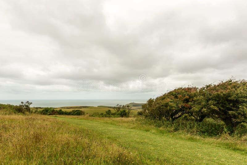 De weiden en het overzees verslaan binnen dichtbij Eastbourne royalty-vrije stock foto's