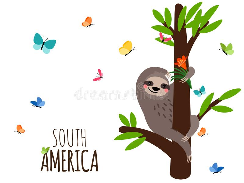 De welkome banner van Zuid-Amerika met luiaard, bloemen en vlinders vector illustratie