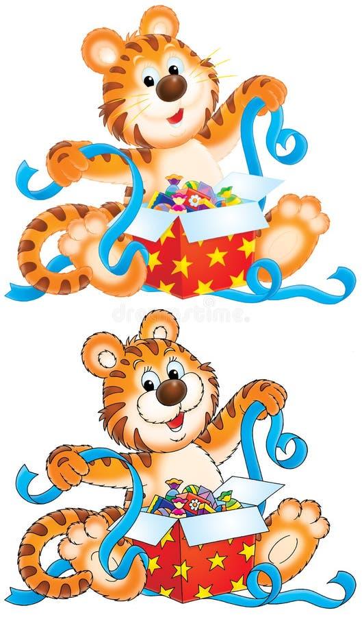 De welp van de tijger met gift stock illustratie