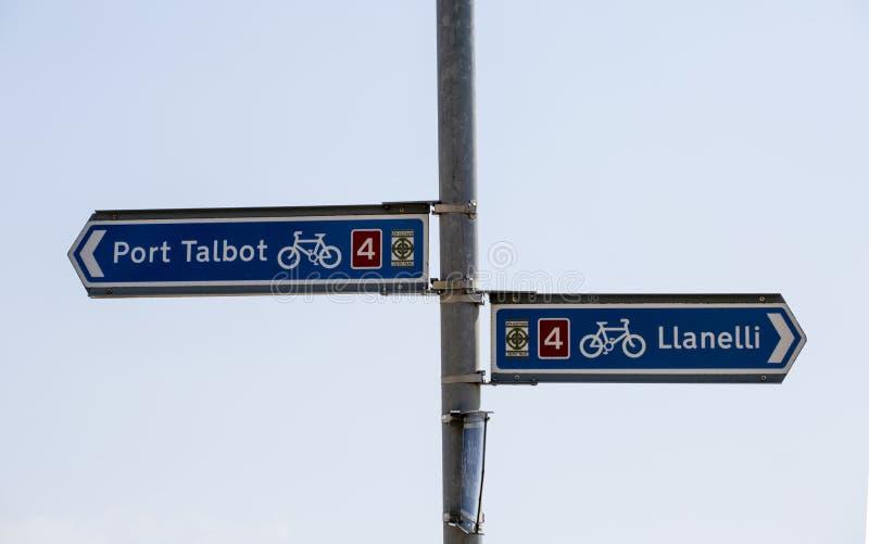 De Welse tekens van de fietsroute royalty-vrije stock fotografie