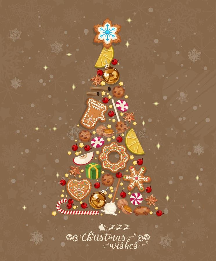 De wensen van Kerstmis Leuke Kerstmiskaart met kleurrijke grappige peperkoek op achtergrond met sneeuwvlokken Vectorgroetaffiche vector illustratie