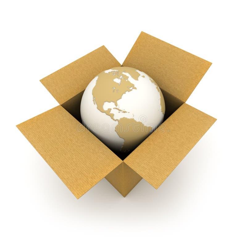 De wereld in een karton royalty-vrije illustratie