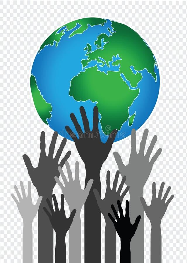 De Wereld en de bolhandenidee van de handholding vector illustratie