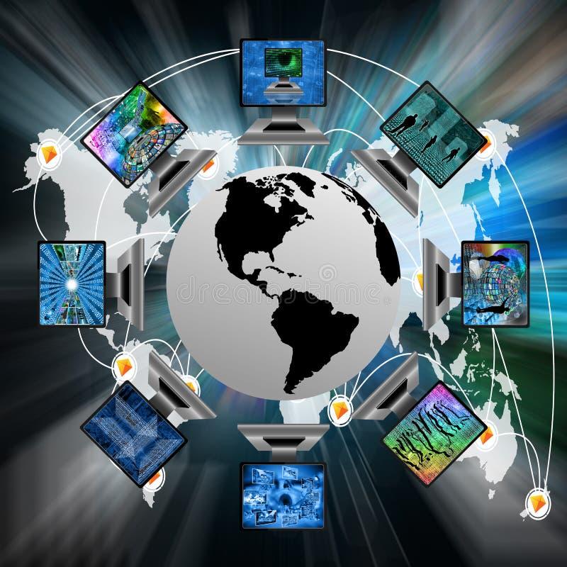 De wereld en de computers vector illustratie