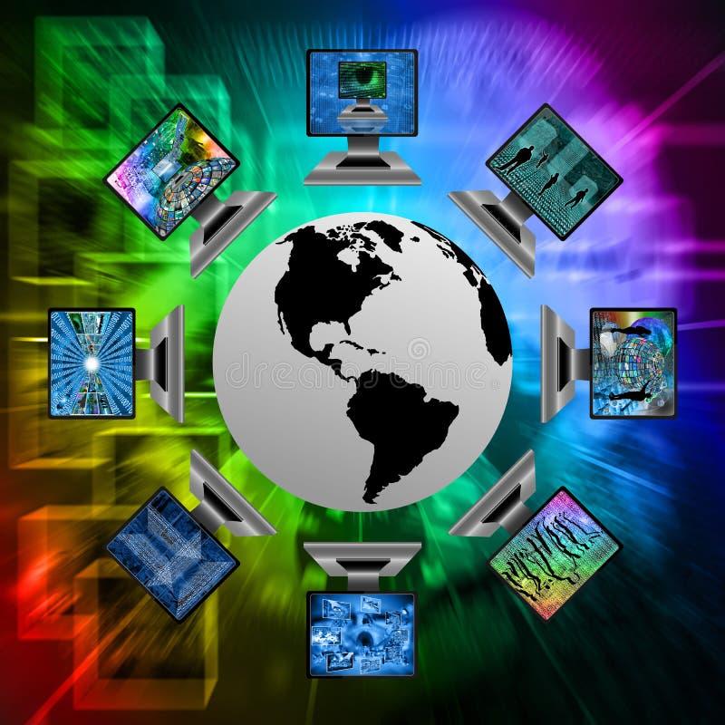 De wereld en de computers stock illustratie