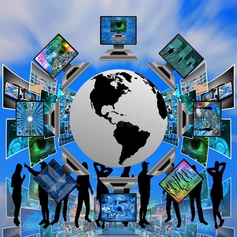 De wereld en de computers royalty-vrije illustratie