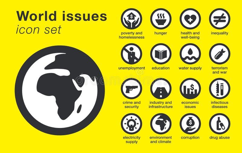 De wereld geeft geplaatste pictogrammen uit Duurzaamheidsproblemen vector illustratie