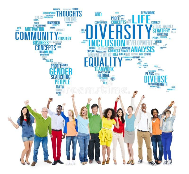 De Wereld Globaal Communautair Concept van het diversiteitsbehoren tot een bepaald ras royalty-vrije stock afbeelding