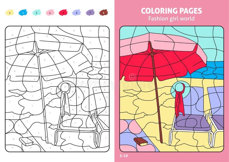 De wereld kleurende pagina's van het maniermeisje voor jonge geitjes, strand stock illustratie