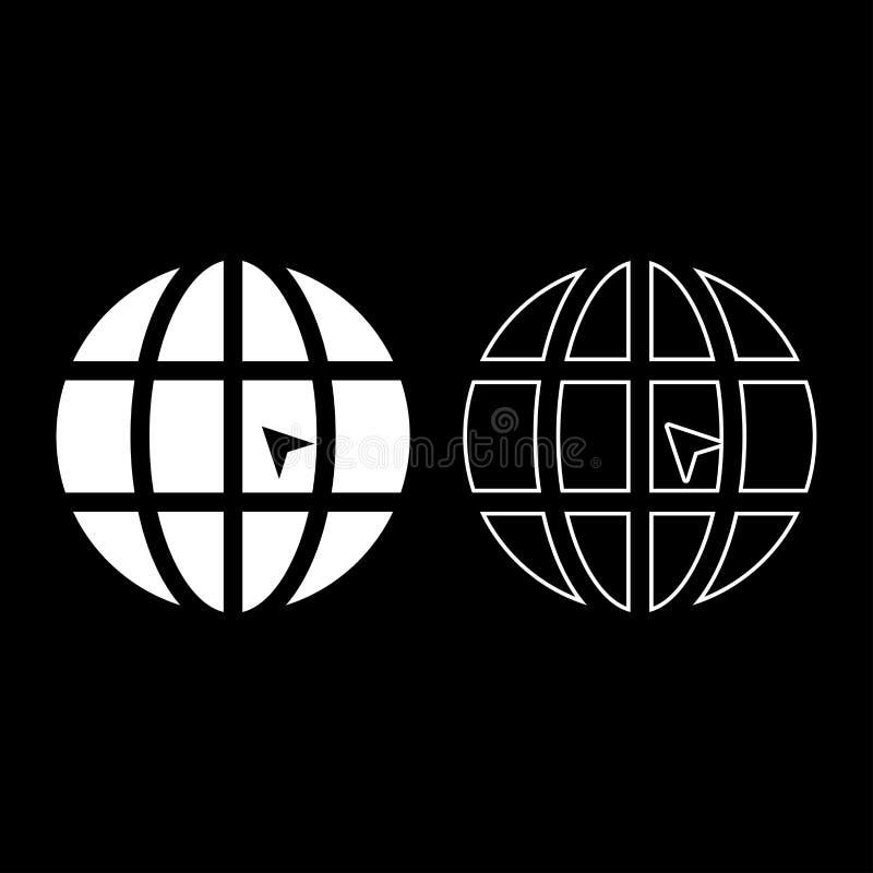 De wereld met pijlwereld klikt van de het pictogram het vastgestelde witte kleur van de conceptenwebsite van de de illustratie vl royalty-vrije illustratie