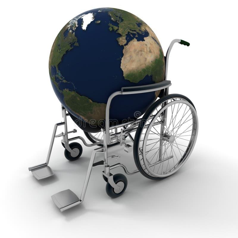 De wereld op een rolstoel stock illustratie