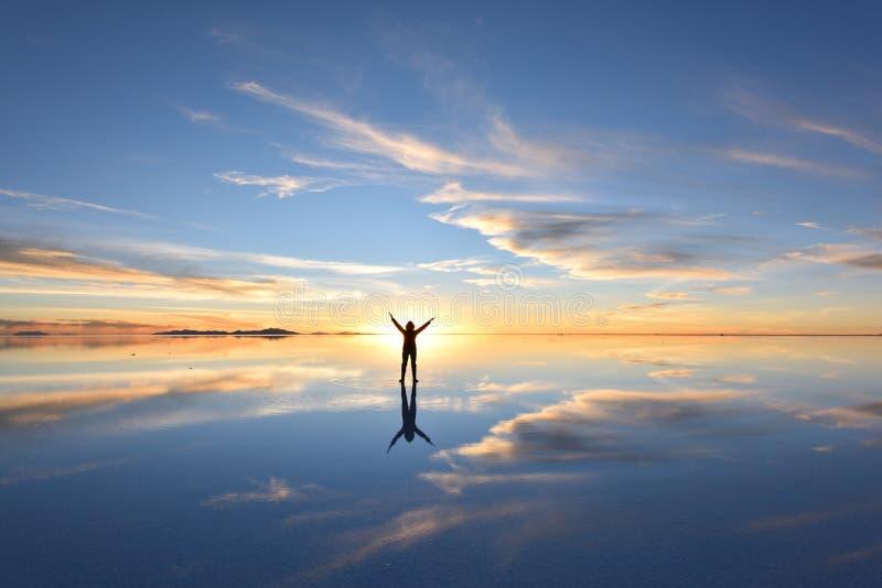 De wereld` s grootste zoute vlakte, Salar de Uyuni stock foto