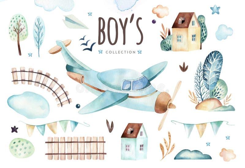 De wereld van babyjongens Beeldverhaalvliegtuig en illustratie van de wagen de voortbewegingswaterverf De reeks van de kindverjaa