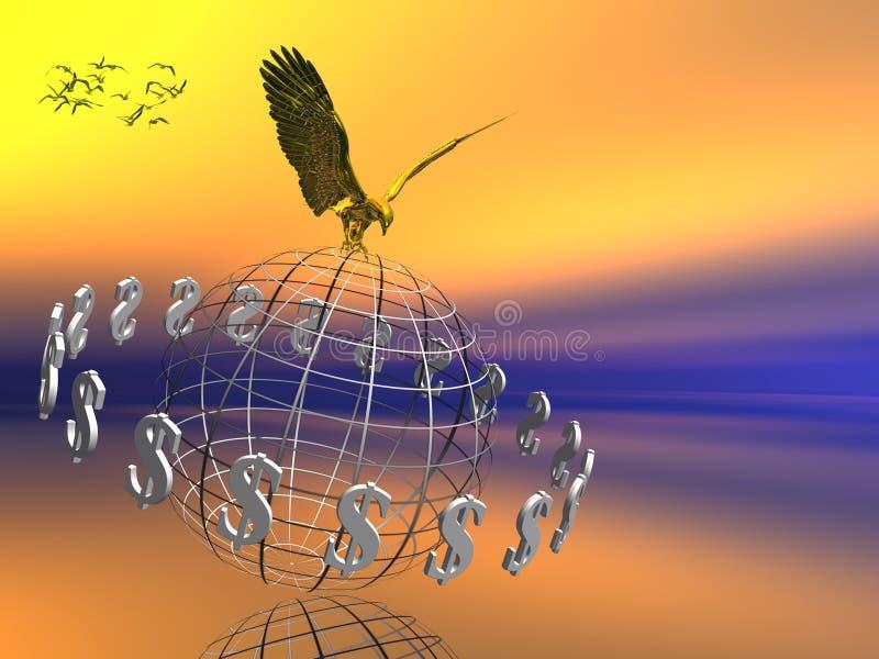 De wereld van de dollar met adelaar op bovenkant. royalty-vrije illustratie