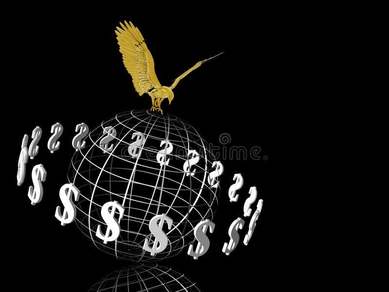 De wereld van de dollar met adelaar op bovenkant. stock illustratie