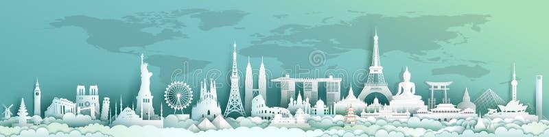 De wereld van reisoriëntatiepunten met de achtergrond van de wereldkaart vector illustratie